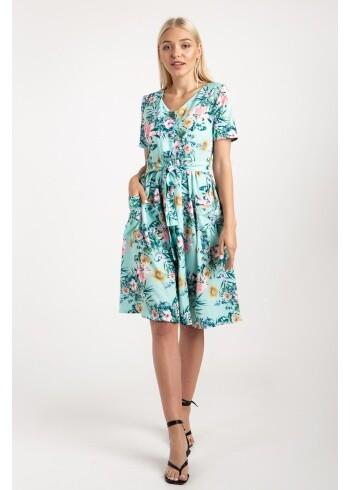 Платье МЕРИ зеленые джунгли 19075-1