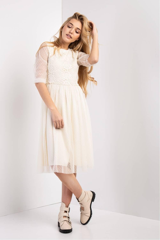 Женское молочное платье Беллаиза -макраме 19313