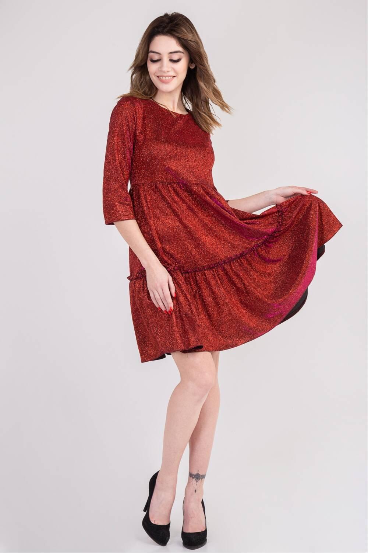 Платье женское Адель-парча красный 74