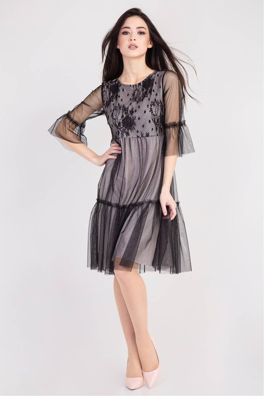 Платье женское Аделлаиза- парча пудра 75