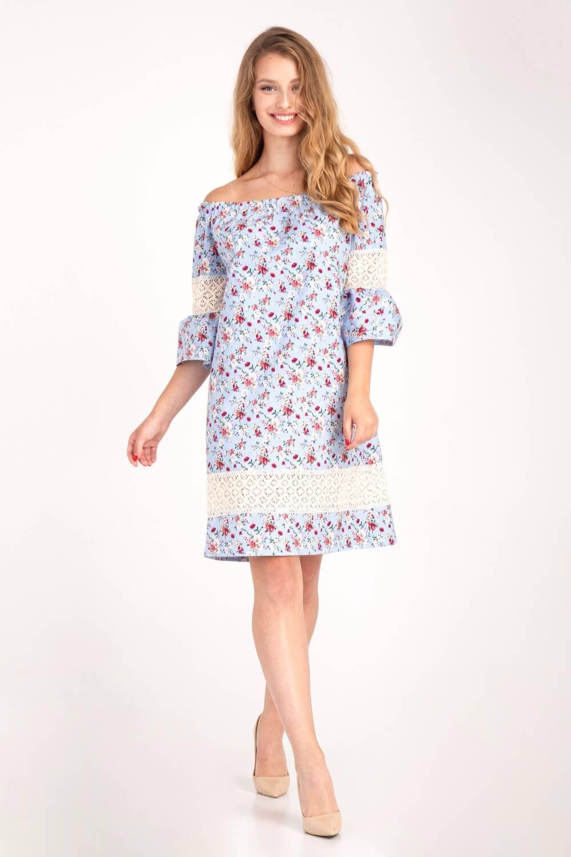 Платье женское Крестьянка цветочный принт 66