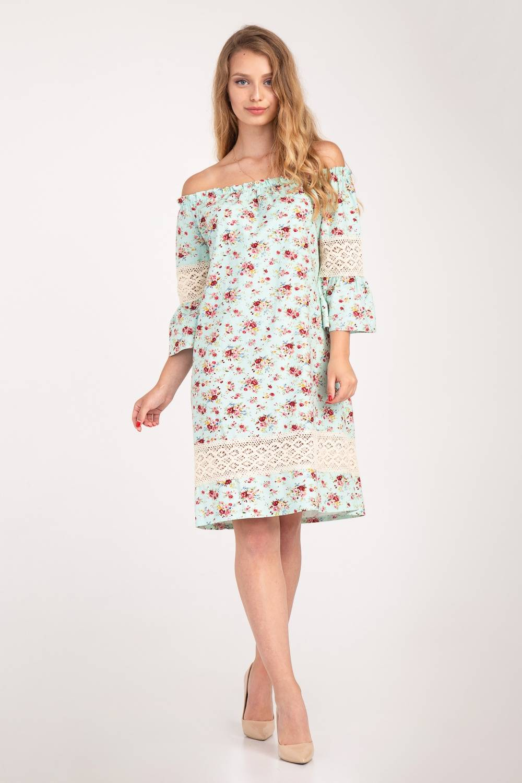 Платье женское Крестьянка цветочный принт 67