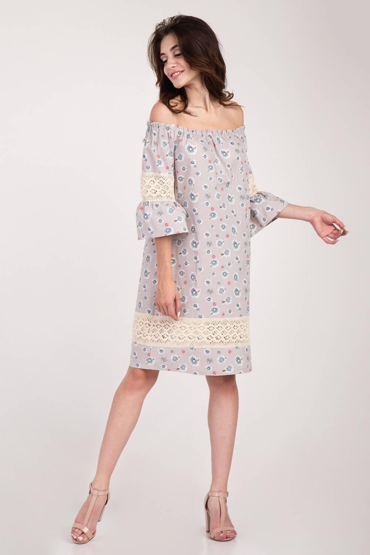 Платье женское Крестьянка цветочный принт 65