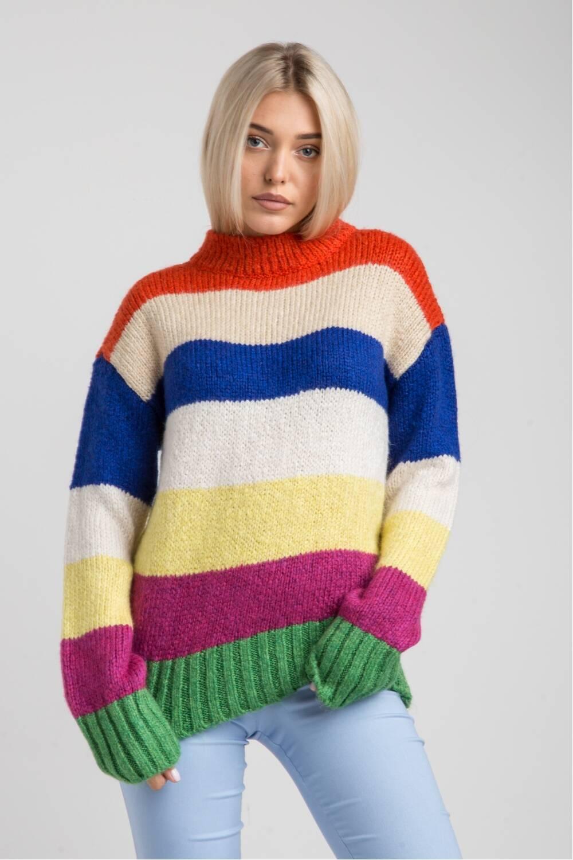 Женский свитер в полоску-оверсайз 19108
