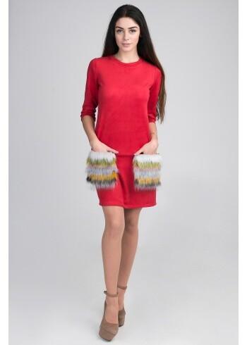 Женское платье с меховыми карманами 13